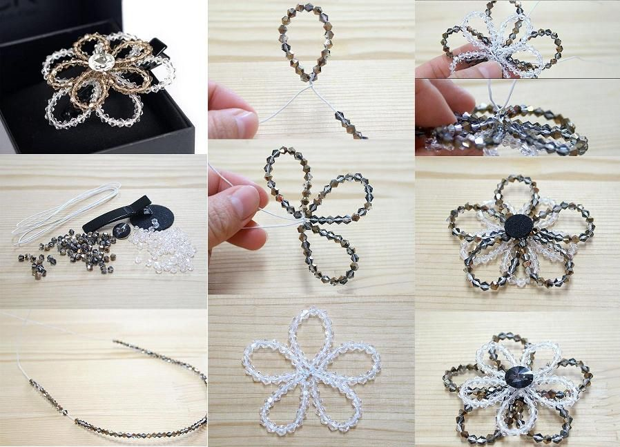 How to make beaded crystal flower step by step diy for Flower making ideas step by step