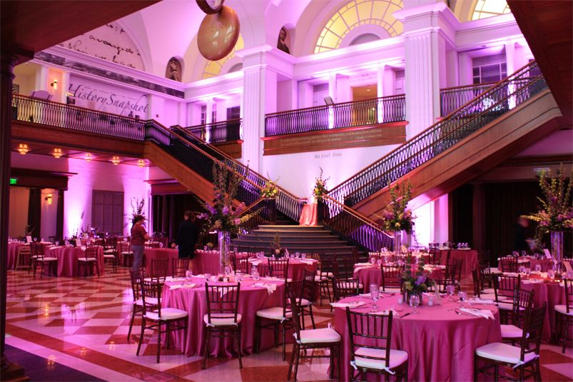indiana history center historical society up lighting pink