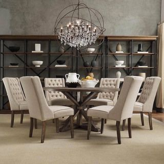Abbott rustic round stainless steel strap oak trestle for Best deals on dining room sets