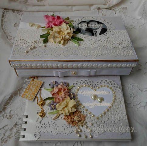 Livro de assinaturas e caixa trabalhados com a arte do quilling/Signature book and box worked with the art of quilling.