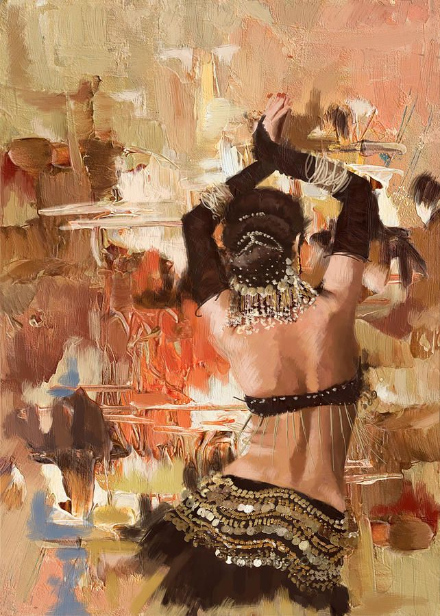 Belly Dance Art Painting Belly Dancer Back By Corporate Art Task
