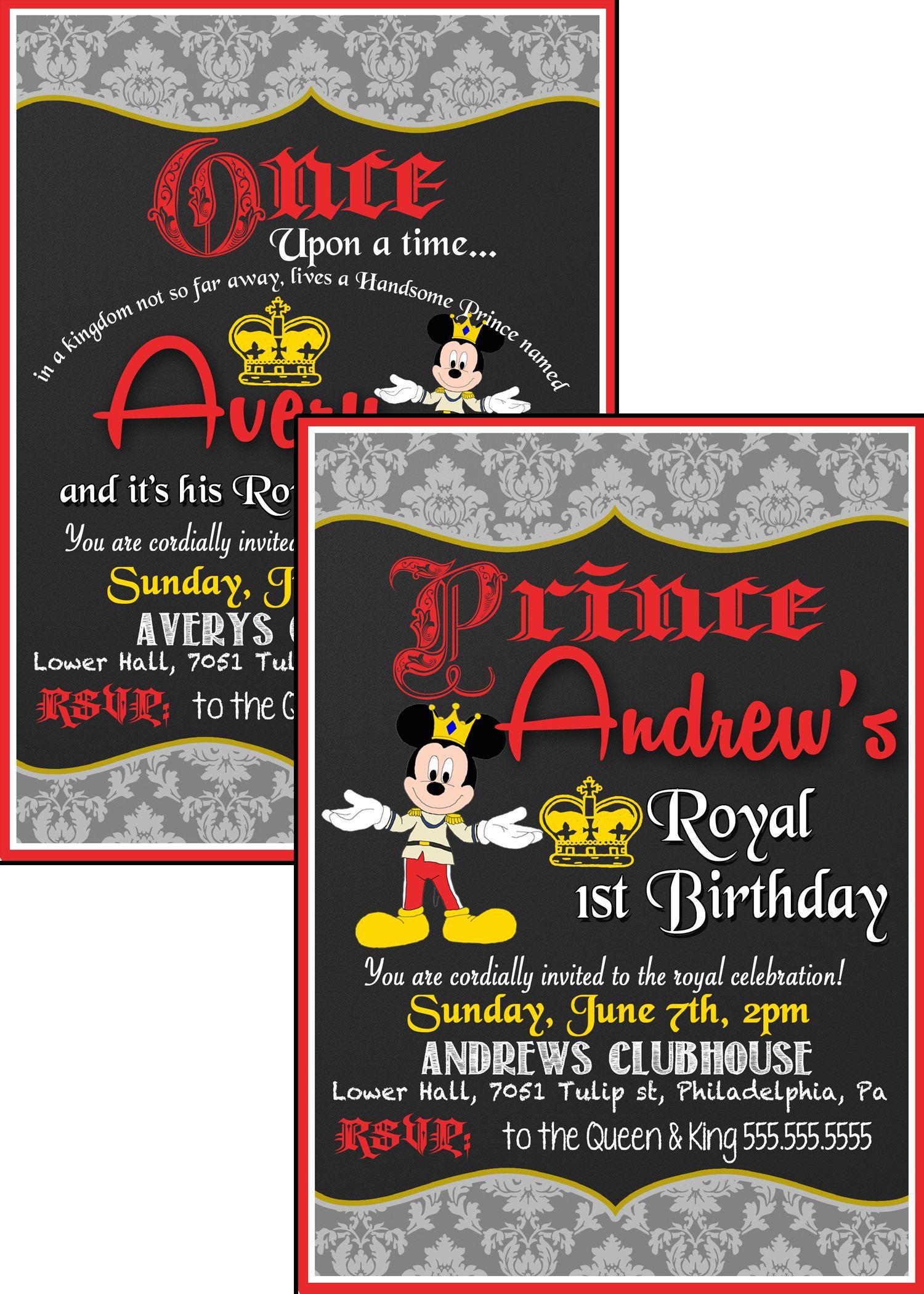 Price Mickey Mouse Birthday invitations, Royal Mickey Invite ...