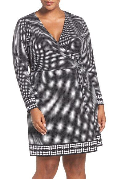 MICHAEL Michael Kors 'Hargett' Border Print Jersey Wrap Dress (Plus Size) available at #Nordstrom