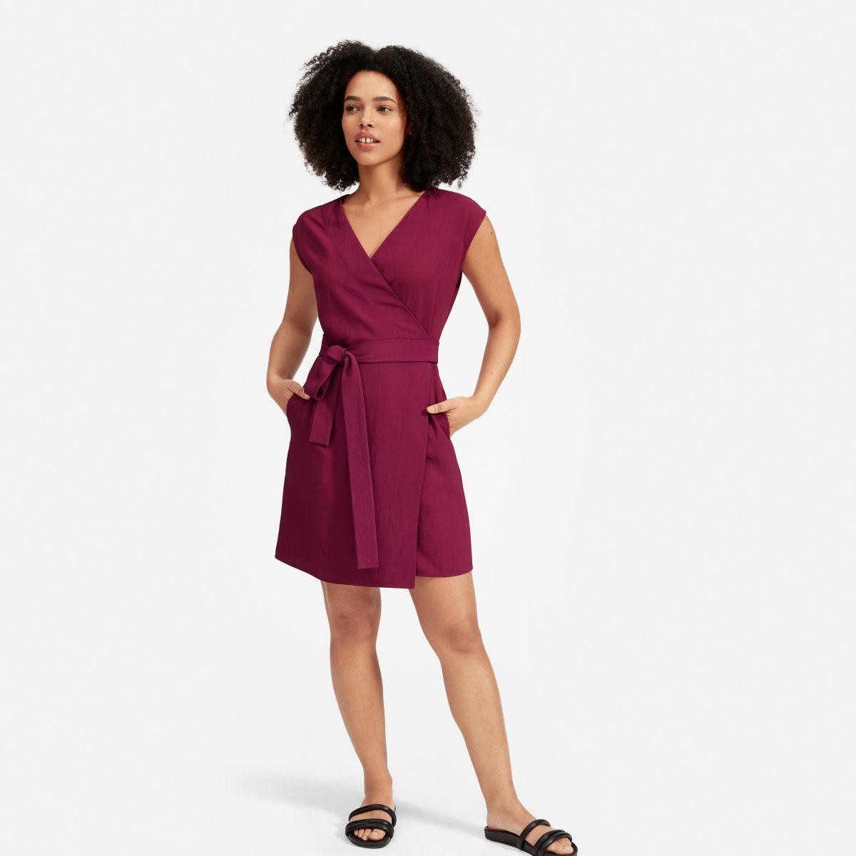 Women S Japanese Goweave Short Sleeve Mini Wrap Dress Everlane Mini Wrap Dress Stylish Wrap Dress Wrap Dress [ 1200 x 1200 Pixel ]