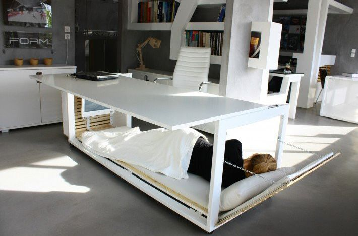 Desk With A Hidden Bed Built Into It So You Can Secretly Nap At Work Bed Desk Convertible Desk Desk Design