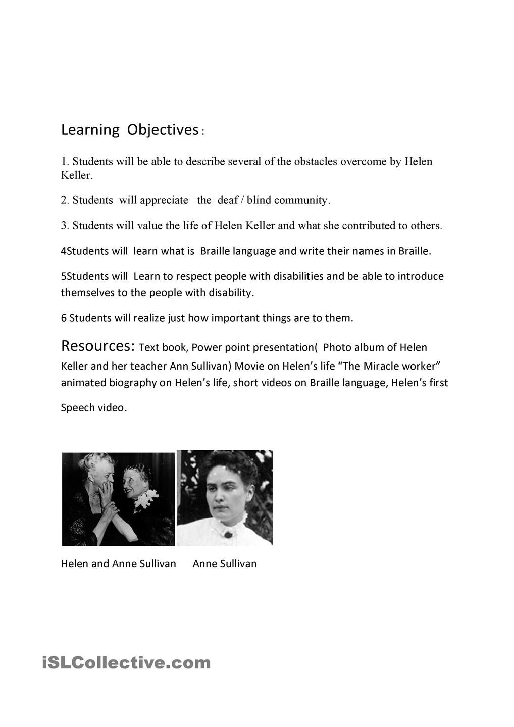 helen keller lesson plan | ESL Units | Pinterest
