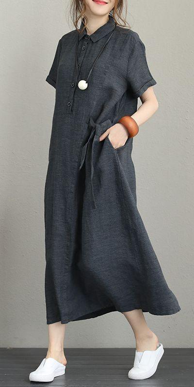 Photo of Vintage lose Maxikleider Frauen 100% Leinen Kleidung Q1231  – Schwarzes Kleid