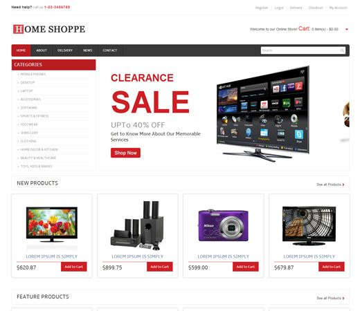 Mobile Website Templates Home Shoppe Online Shopping Cart Mobile Website Template