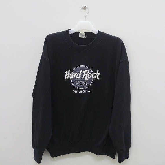 Vintage HARD ROCK CAFE Shanghai Black Pullover Sweatshirt   grey s ... f5cdb0580f