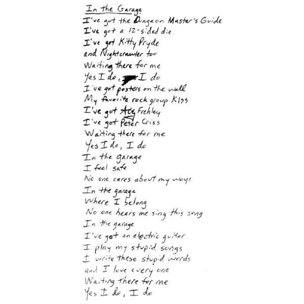 Handwritten Lyrics By Rivers Cuomo Garage Liked On Polyvore