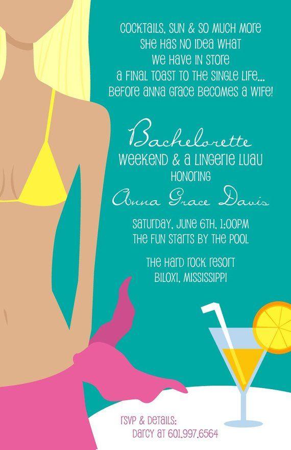 f317a497b Sweet Wishes Bridal Shower Lingerie Bachelorette Beach Pool Party  Invitations - PRINTED - Digital Fi