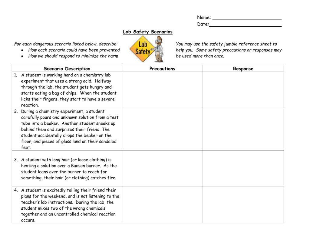 Lab Safety Cartoon Worksheet Lab Safety Symbols Worksheet Scenarios Kids Worksheets Printables Lab Safety Time Worksheets