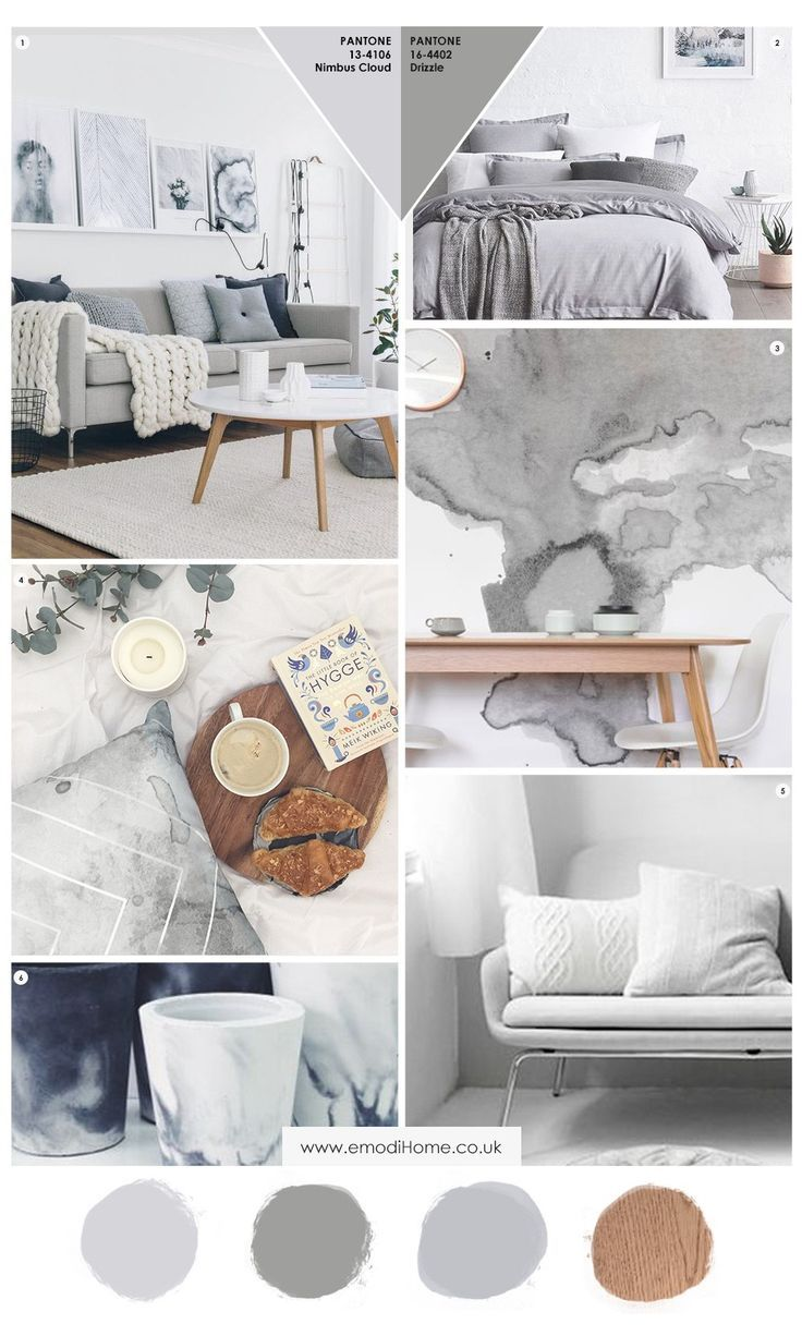 Grey and more grey interior inspiration mood board. A perfect rey colour palette 2017 - Emodi #moodboards