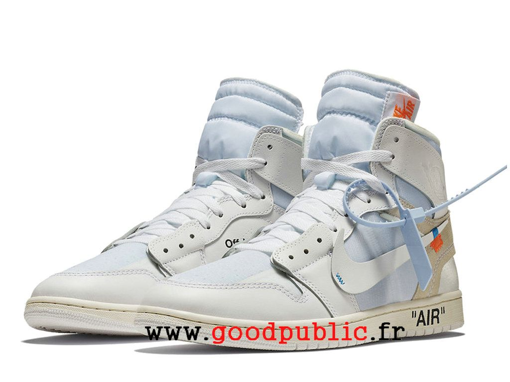 sports shoes 8220e 73b20 Off-White x Air Jordan 1 Prix Chaussure de BasketBall Homme Blanc AQ0818-100