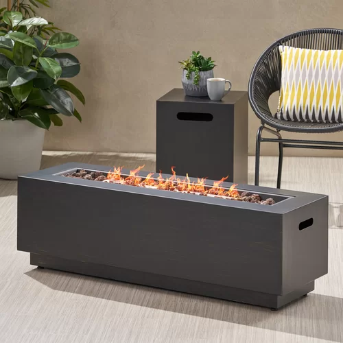 Lara Steel Propane Tabletop Fireplace In 2020 Propane Fire Pit Rectangular Fire Pit Fire Pit