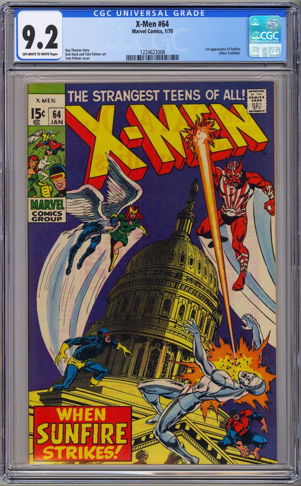 X Men 64 Cgc 9 2 Nm Marvel 1970 Ow W Pages 1st Sunfire Comics Silver Age Comics Marvel Comics