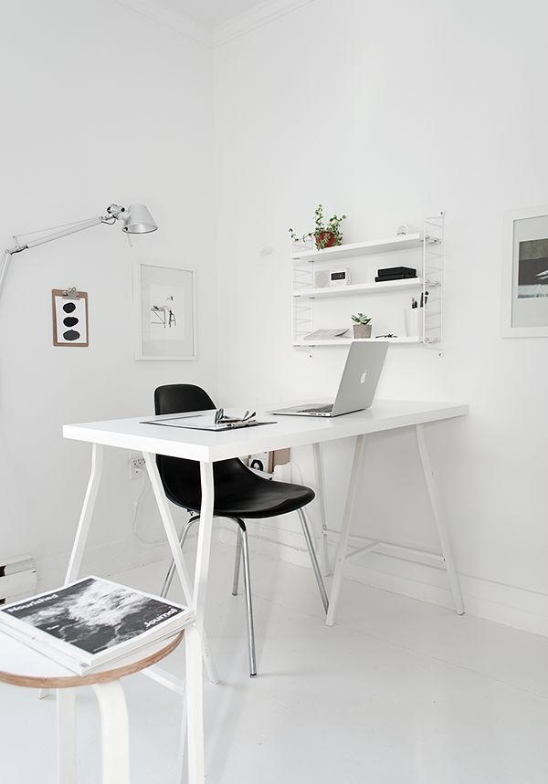 Nothing says minimalist quite like this office decor! The all white ...