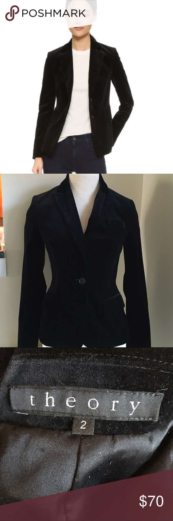 Theory Velvet Single Button Blazer Luxurious simple elegant it feels amazing perfect for the upcoming fall holiday season it's classic never goes out of style. Theory Jackets & Coats Blazers