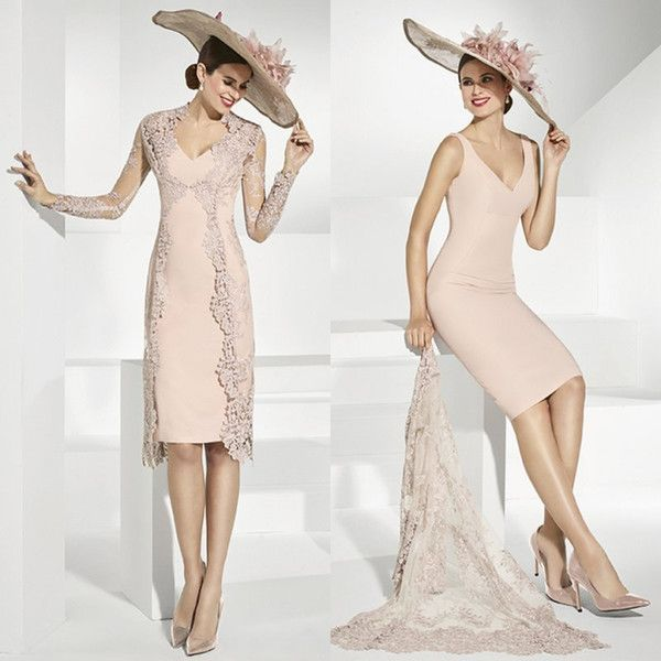 2018 Elegant Lace Mother Of The Bride Dresses With Jacket V Neck ...