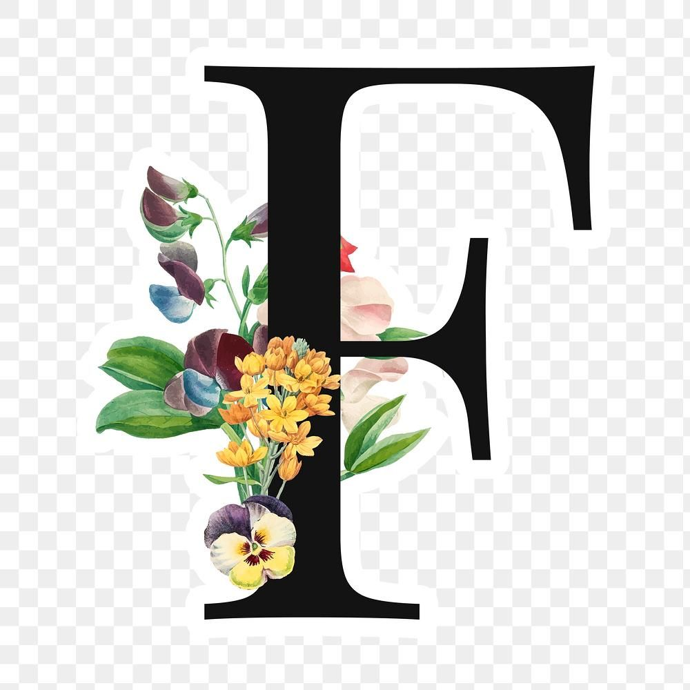 Download Premium Png Of Flower Decorated Capital Letter F Sticker In 2021 Floral Letters Letter F Etsy Stickers