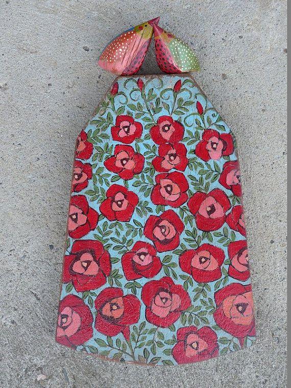 RESERVED FOR WENDY / Love Birds On the Flowers Wooden von Popielnik