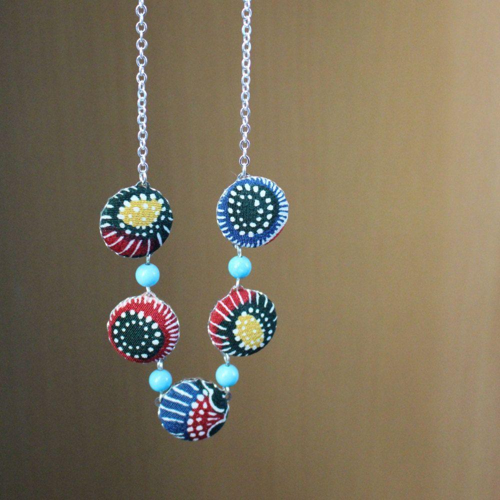 Colorful kimono Necklace, Kimono fabric jewelry, Kimono fabric ...