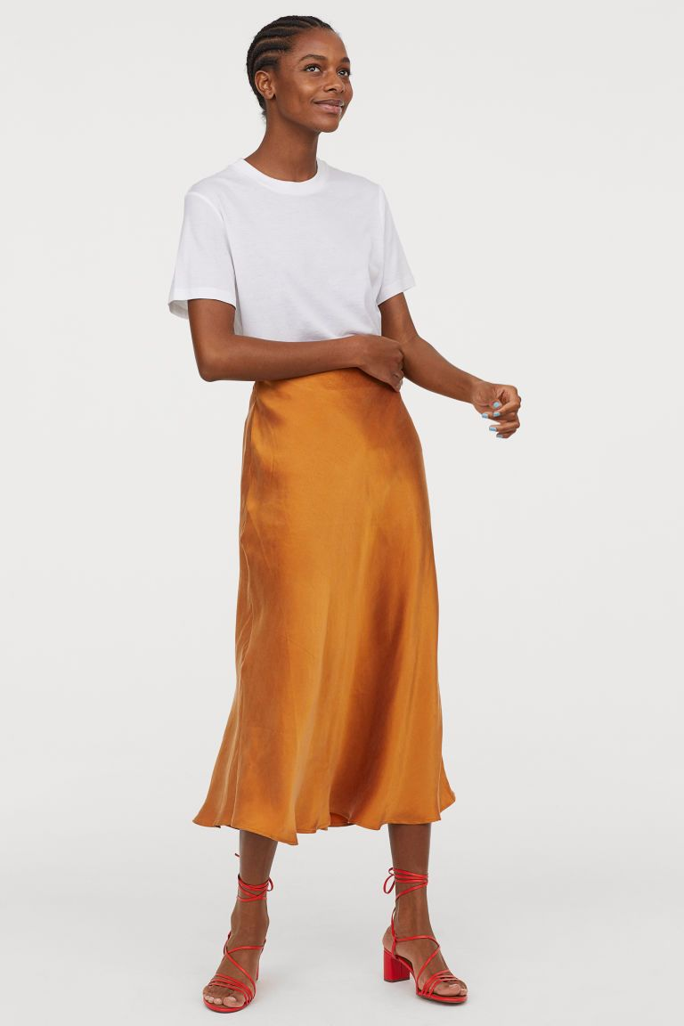c88d39fad083ae This amazing color you need wear this summer what wear silk slip skirt  mustard yellow trends fall look ideas hm #hm #falltrends #falllook  #lookideas #trends ...