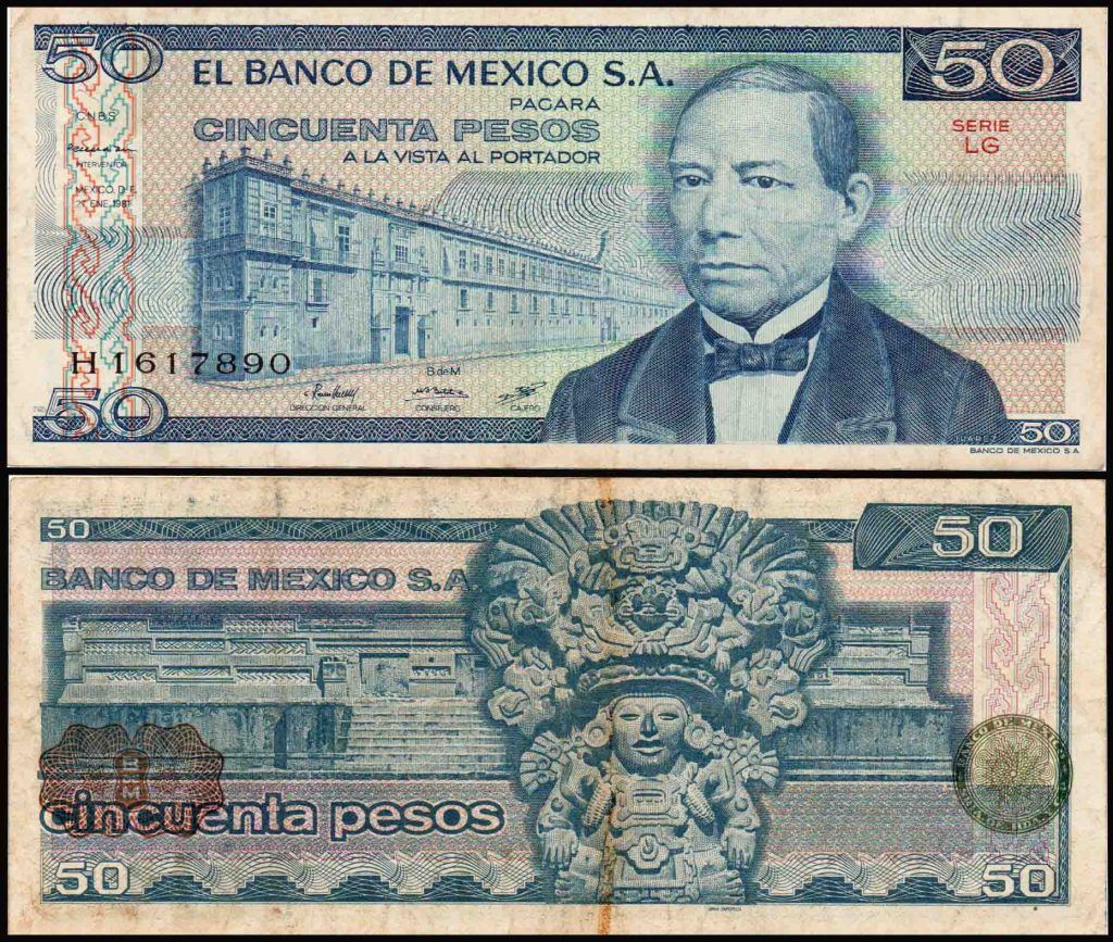 Mexico 50 Pesos Benito Juarez Used Banknote