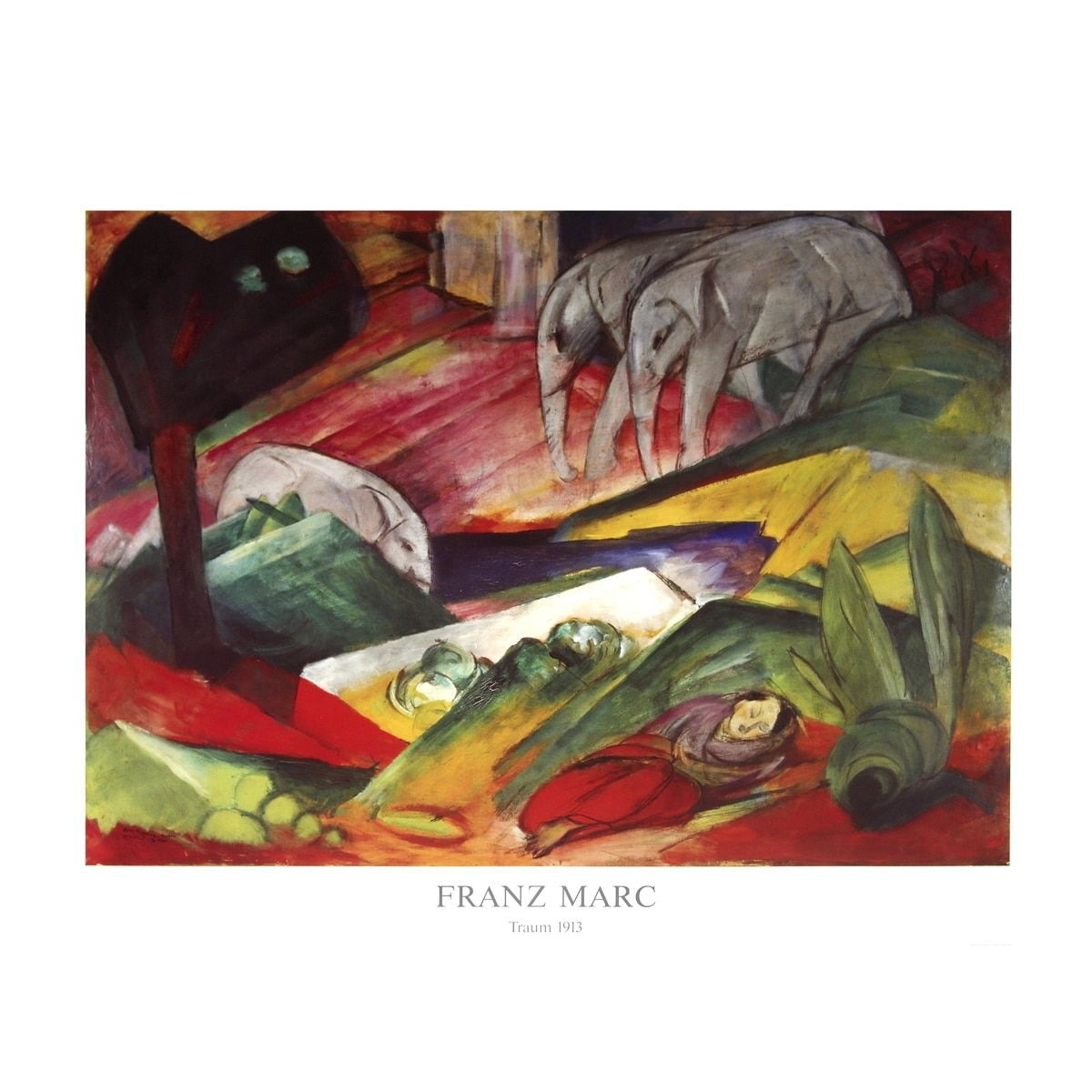 Refurbished Franz Marc 'The ' Offset Lithograph, 27.5 x 35.5 inches
