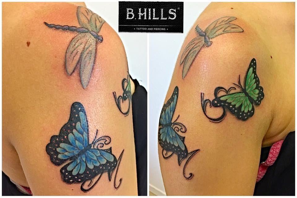 Butterfly lettering tattoo