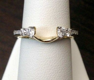 14k Yellow Gold Round Diamonds Station Solitaire Enhancer Ring Guard Wrap Tri Color Gold Rings Moissanite Engagement Ring Rose Gold Heart Shaped Diamond Ring