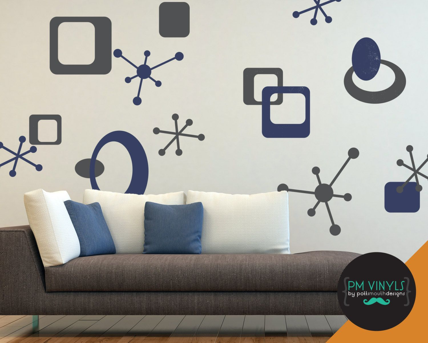 Large Retro Starbursts, Ovals and Squares Vinyl Wall Decals - SHA024-LG by PMVinyls on Etsy