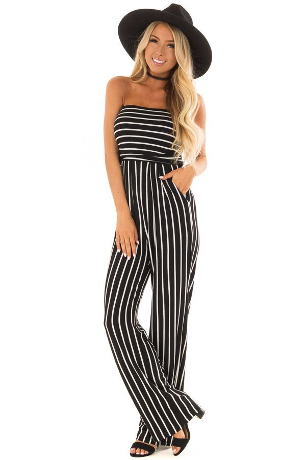 08f5a0225ebe Black and White Striped Sleeveless Jumpsuit