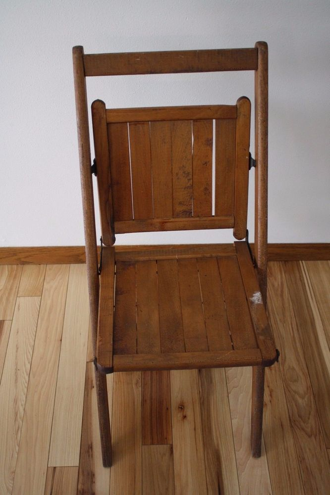 Wooden Slat Folding Chairs.Details About Vintage 40s 50s Antique Wooden Folding Chair