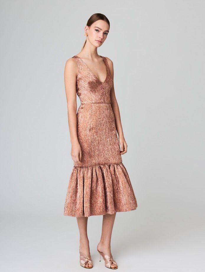 45a254bb44d Plisse Lame Flared Cocktail Dress - Ready to Wear - Oscar de la Renta