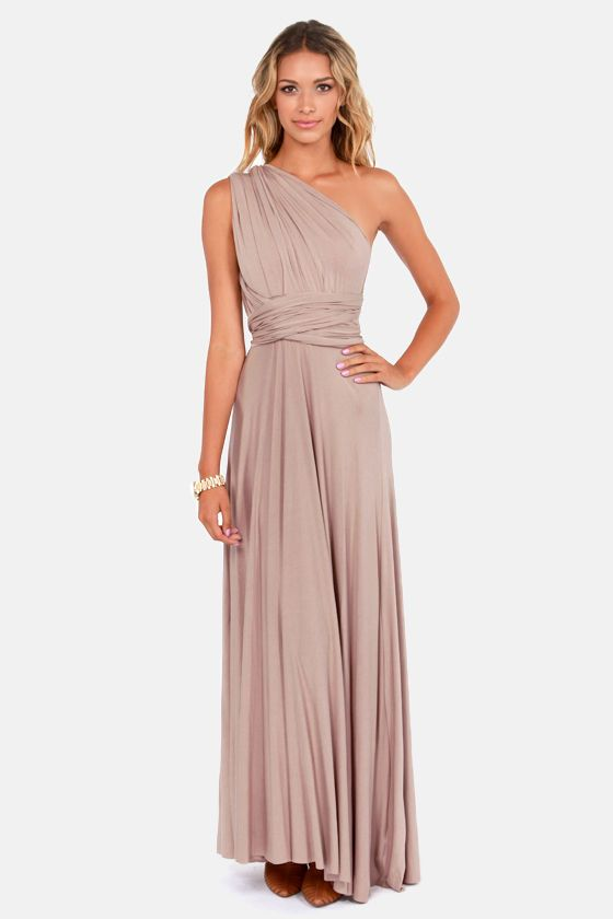 e0a70994d06 This is sold out - but if u like let me know! I think it would work great  and its convertible. ~~Mack Tricks of the Trade Taupe Maxi Dress at  LuLus.com!