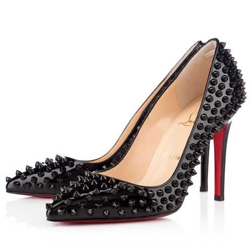 Christian Louboutin Black Pigalle Spikes 100mm Pumps   Christian ... 3730307a61