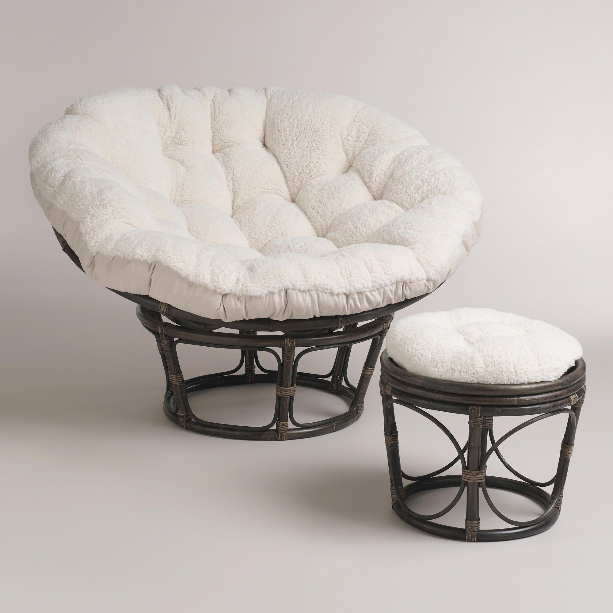 Oatmeal Faux Fur Papasan Chair Cushion Papasan Chair Papasan