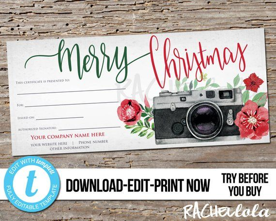 Editable Custom Printable Christmas Gift Certificate Template Photography Session Voucher Car