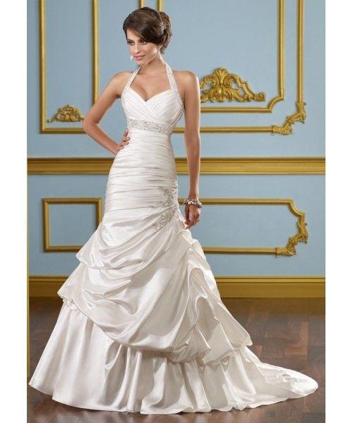 Plissee Taft Kapelle Zug Halfter Meerjungfrau Brautkleid $240.99 Brautkleider 2012