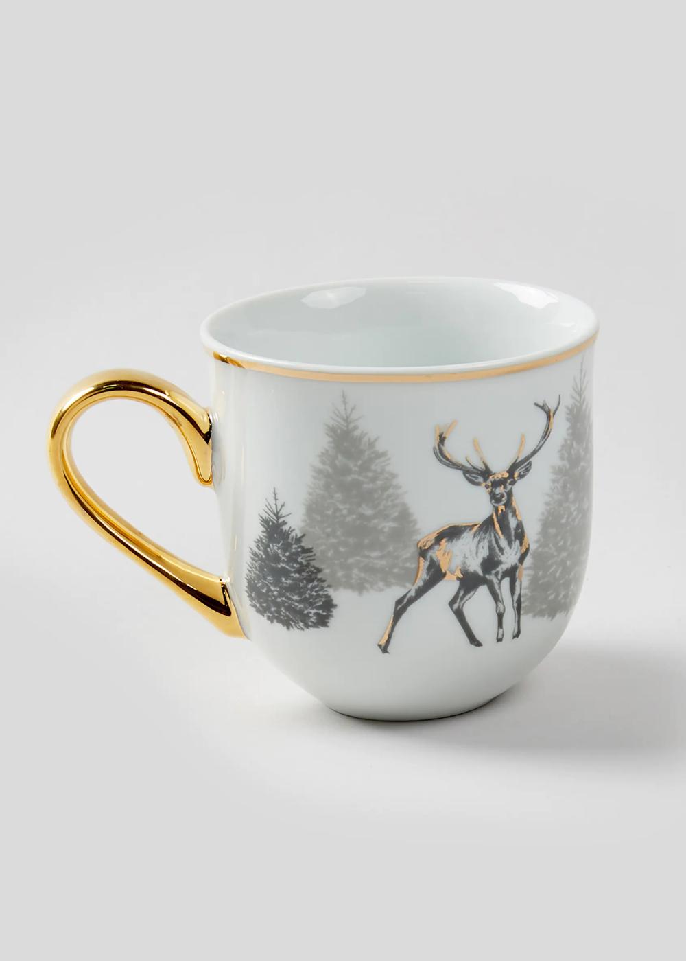Christmas Stag Mug Gold Mugs Glassware Christmas Plates