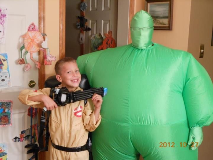 A Ghostbuster & Slimer. Halloween 2012 in Harleysville. Connor Flynn & Mom having some fun!