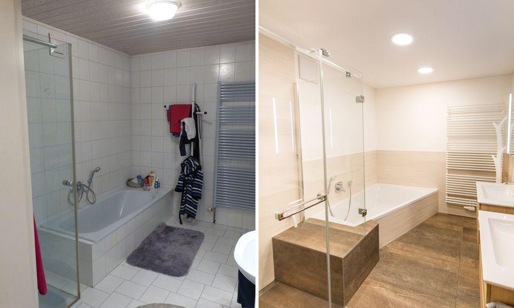 Vorher Nachher Bad Der Fa Straka Hollabrunn Und Laa Thaya Derselbe Raum Mit Komplett Anderer Wirkung Warme Naturtone Eine Grossz Bad Badewanne Badsanierung
