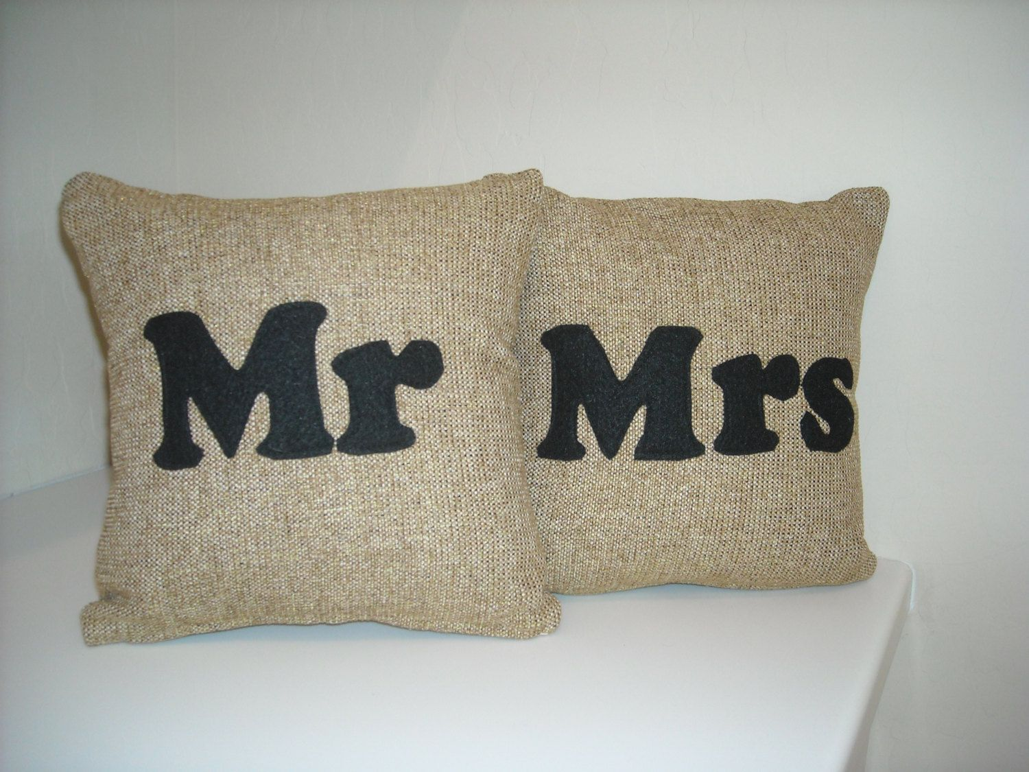 Mr. and Mrs. pillows.  Neutral woven fabric by BrittaLeighDesigns, $45.00