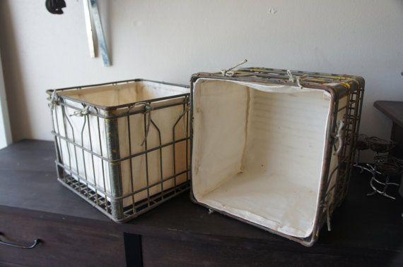Vintage Metal Milk Crates Set With Canvas Liner On Etsy 50 00