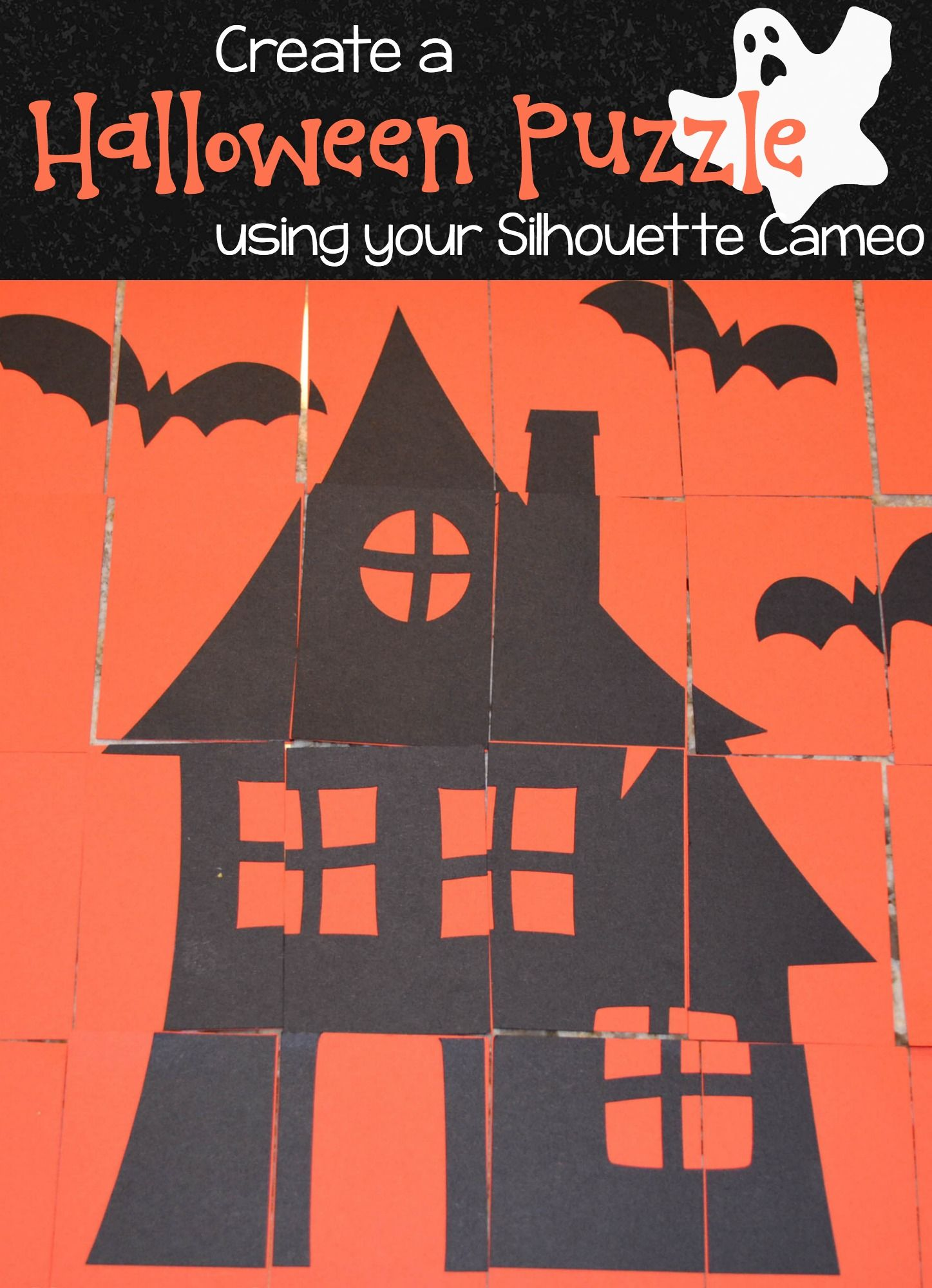 Amelia and Me Crafts Halloween Puzzle #silhouette #halloweenpuzzle #halloweencraft #silhouettehalloween