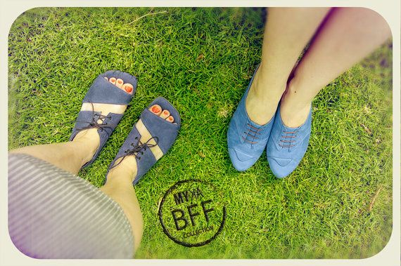 I like the blue shoes ... sandals by MYKAshop