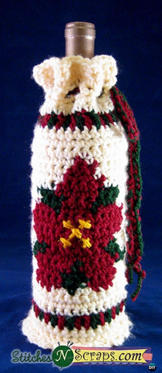 Crochet Wine Bottle Cozy Bag Sack Free Patterns Poinsettia Free