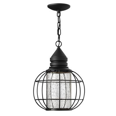 Hinkley lighting 2252bk new castle outdoor pendant front porch hanging light