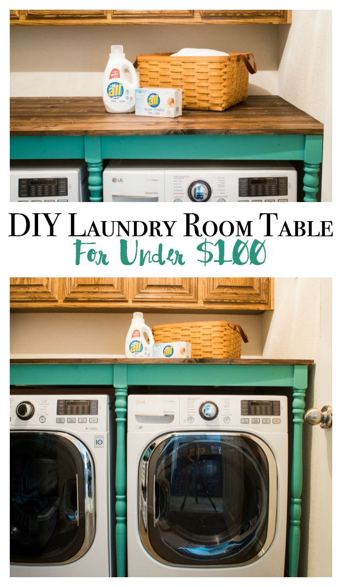 Diy Laundry Room Table For Under 100 You Will Love This Makeover A Fabulous Idea To Add Decor And Organization In Such Small E
